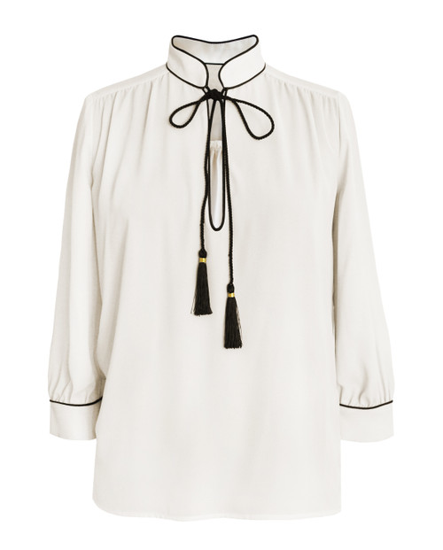 Lagom Brera Blouse in cream crepe fabric with black tassels, £65