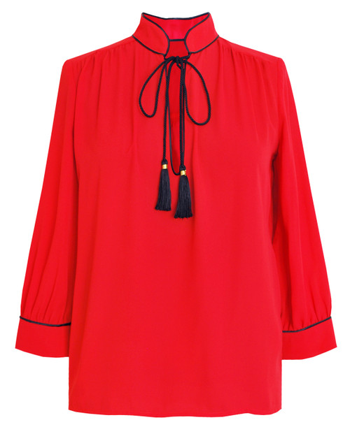 Lagom Elegant Brera Blouse in red crepe fabric with black piping and black rope tassels, £65