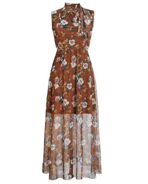Lagom Puglia Floral Mesh Maxi Dress Brown, £68