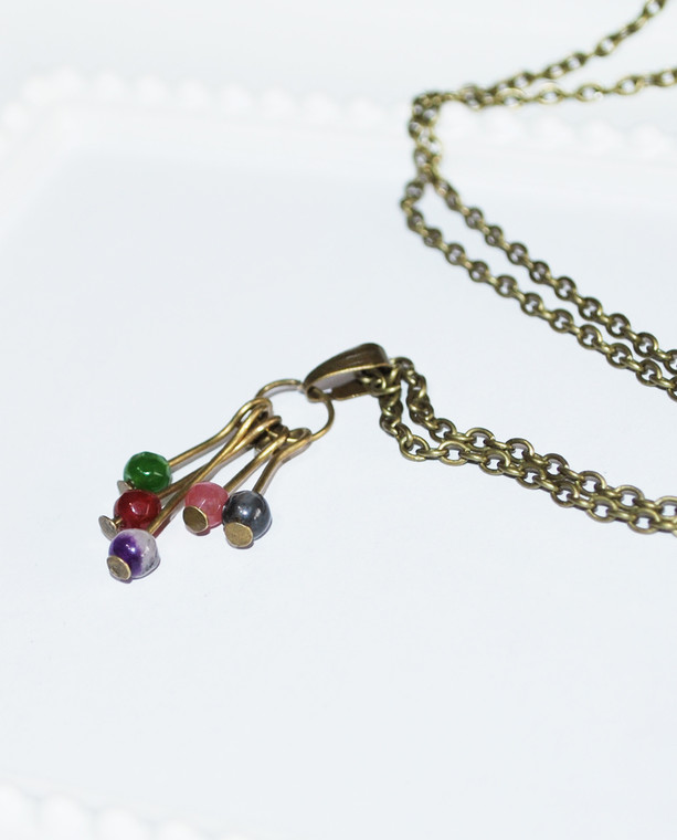 Lagom Agate Cluster Necklace with semi precious beads on bronze chain
