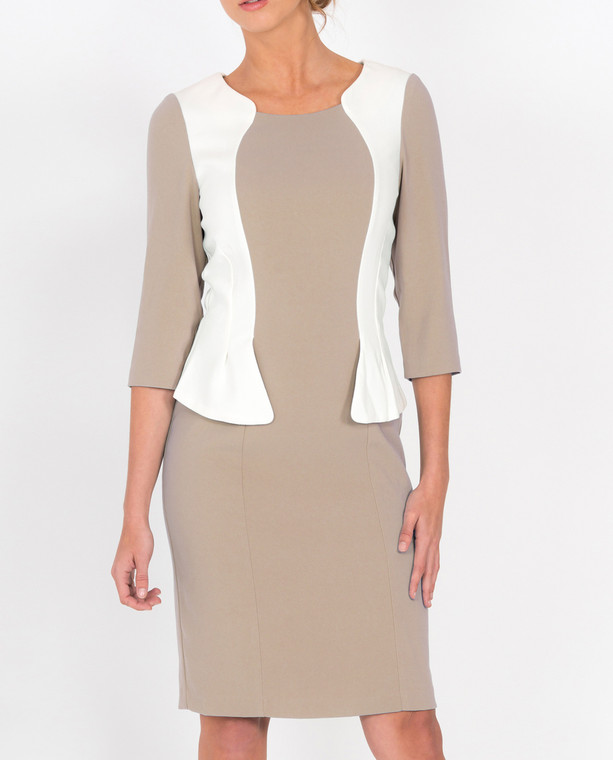 Lagom Andalucia Dress Beige front view, worn by model on grey background