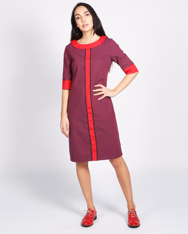 Lagom Bloomsbury Dress front view, worn by model on grey background