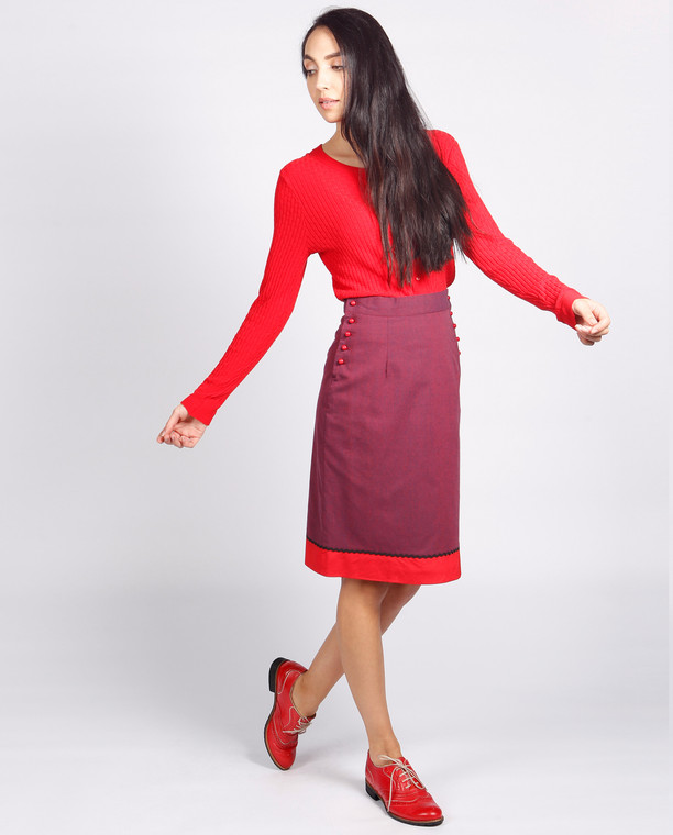 Lagom Bloomsbury Skirt front view, worn by model on grey background