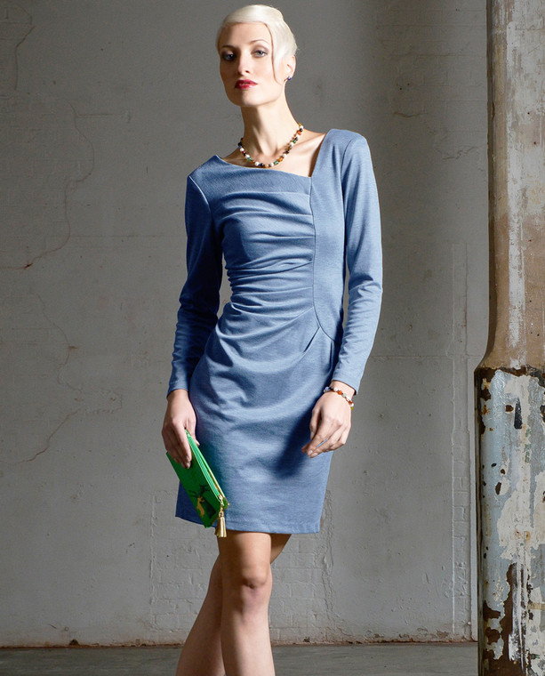Lagom Frieda Dress Blue - fitted jersey pencil dress with front pleats and asymmetric V neck