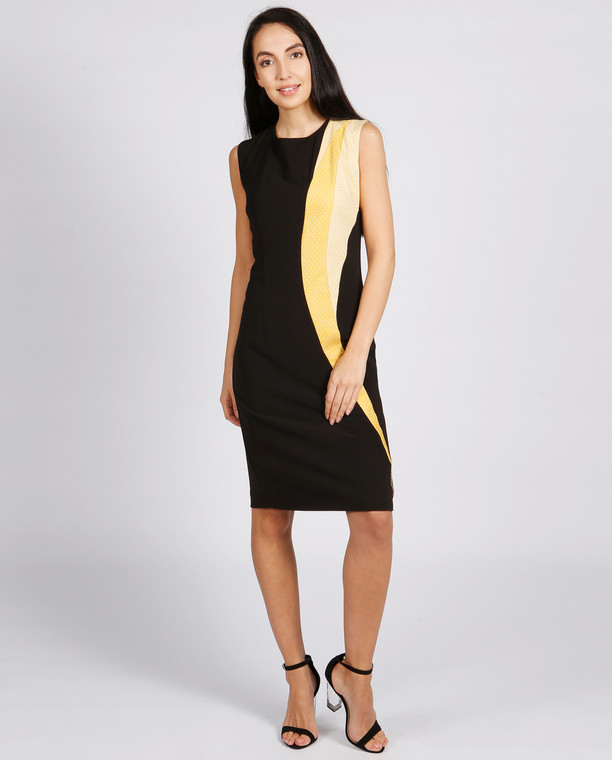 Lagom Lollypop Dress Black-Yellow front view on model on grey background