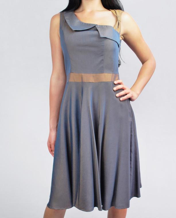 Lydia Dress Bronze Denim front view on model on grey background