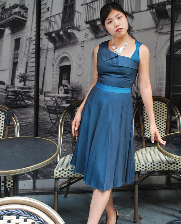 Lydia Dress Teal Blue in Shot Rayon with Bow Detail