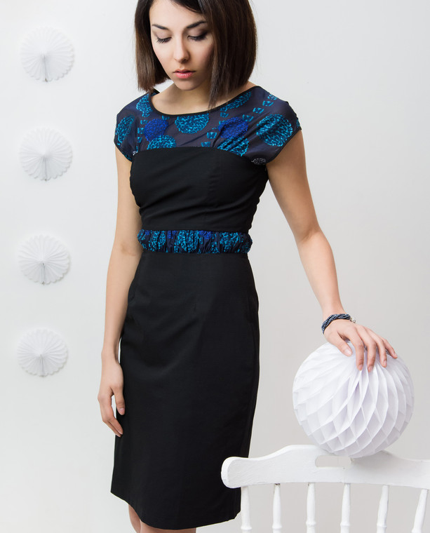 Lagom Melody Dress Black Blue front view on model on white background