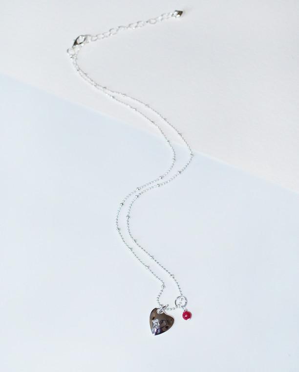 Nina Heart Charm Necklace Raspberry