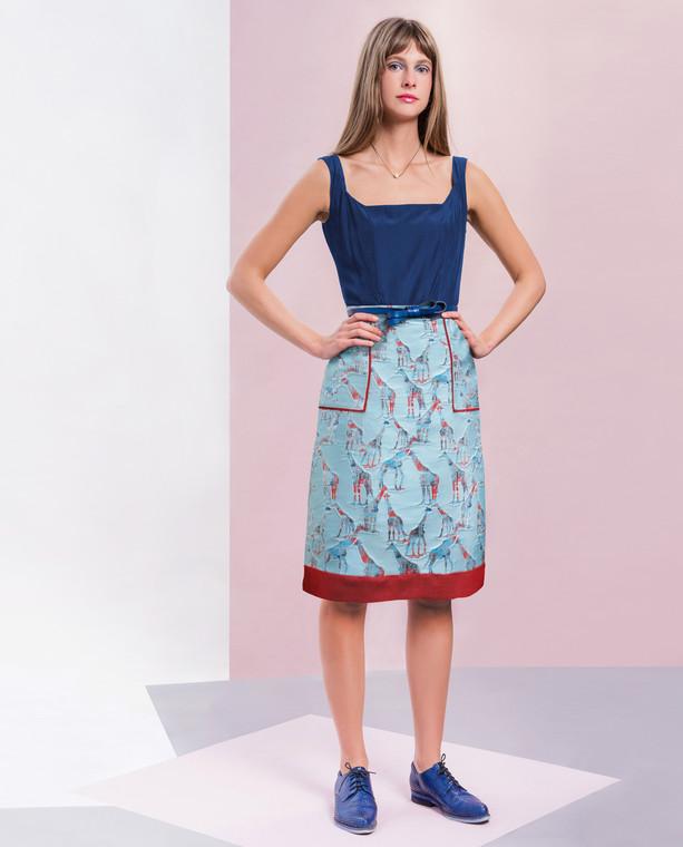 Riviera Skirt Blue Giraffe
