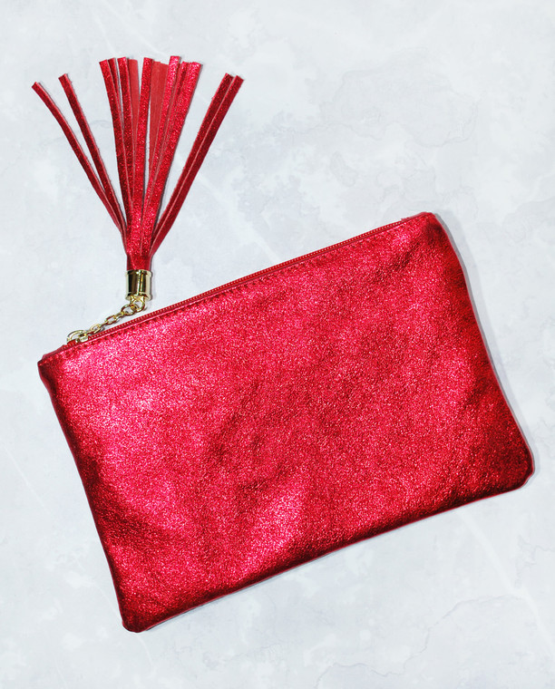 Soho Glitter Clutch Bag Red