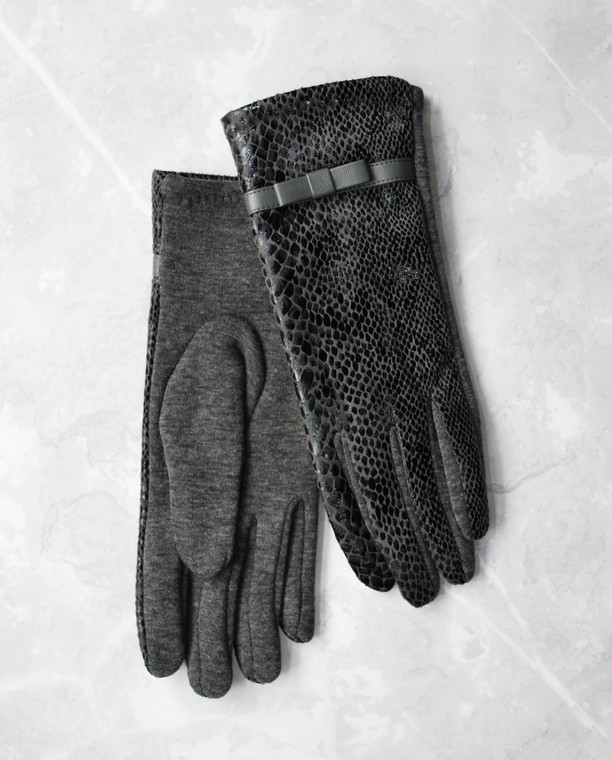 Snake Print Fabric Gloves Grey