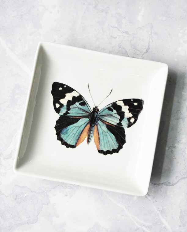 Lagom Butterfly Vintage Style Trinket Tray detailed view on marble background