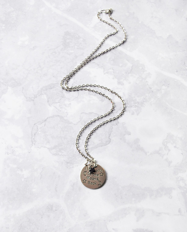 Moon And Back Necklace Silver