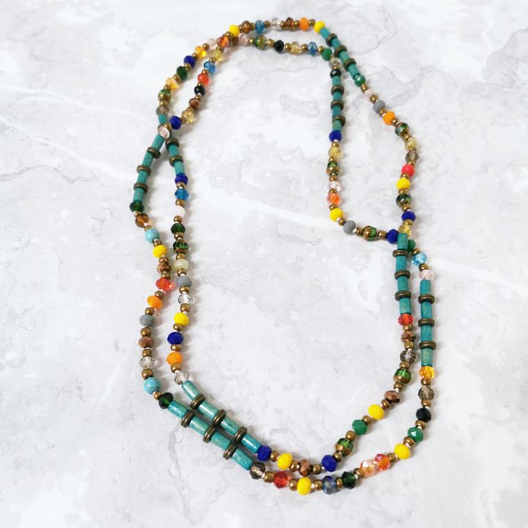 Grace Rainbow Long Crystal and Buri Seed Bead Necklace