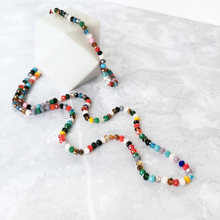 Rita Rainbow Beaded Crystal and Semi-Precious Stone Necklace