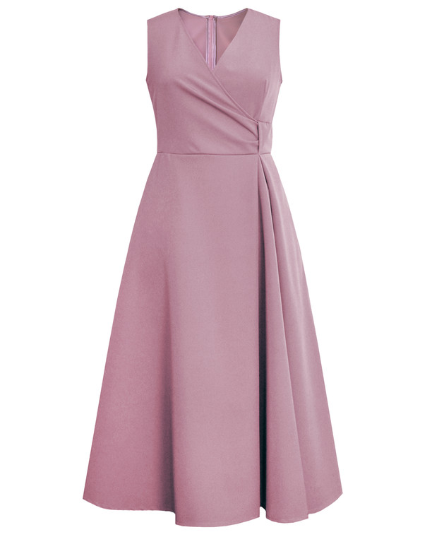 Lagom Ravello Midi Dress in dusky pink, front view, £120