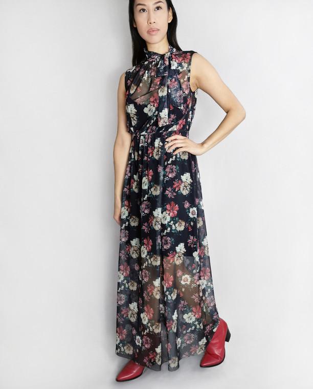 Lagom Puglia Floral Mesh Maxi Dress Black, £68, front view on model
