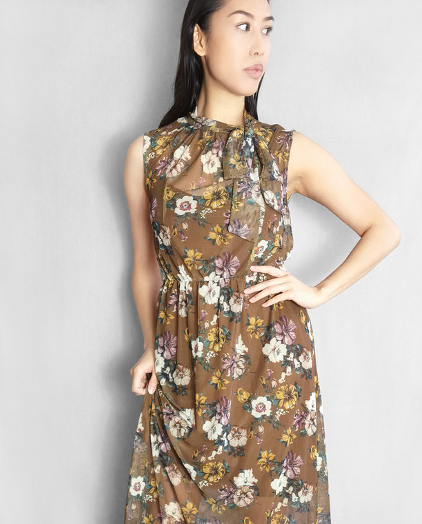 Lagom Puglia Floral Mesh Maxi Dress Brown with pussy bow necktie