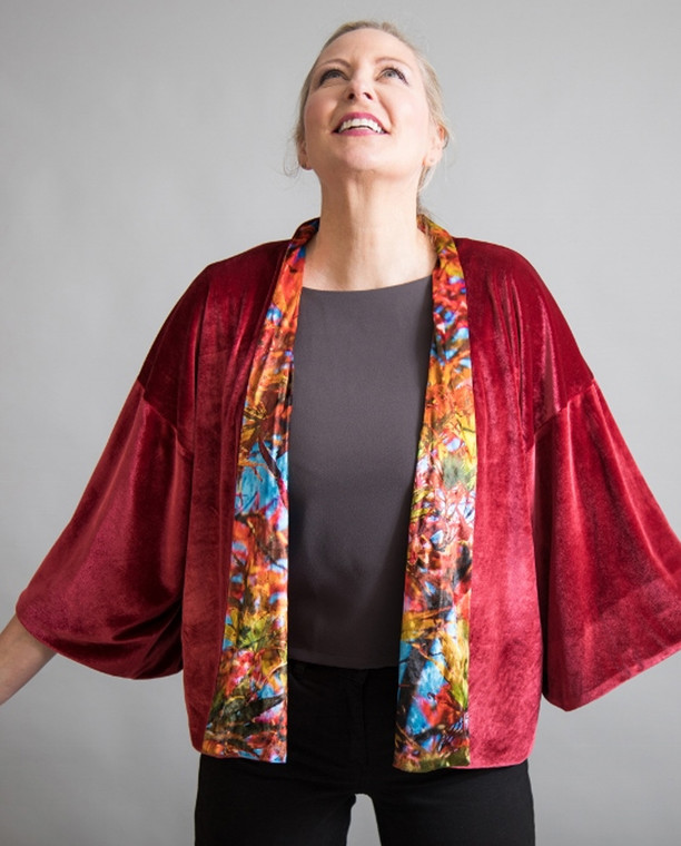 Luxurious Velvet Print Kimono Jacket in reversible style with Acer Leaves print by sustainable label From My Mother's Garden