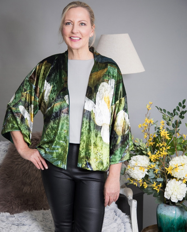 Luxurious Velvet Print Kimono Jacket in reversible style with Waterlily print by sustainable label From My Mother's Garden