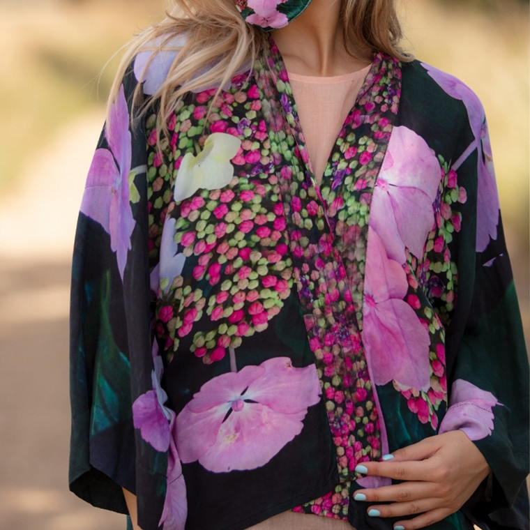 Lightweight Viscose Kimono Top with Hydrangea Floral Print by Sustainable Wearable Art Label From My Mother's Garden