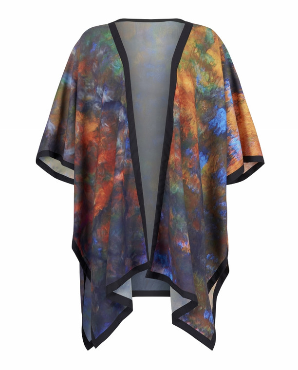Kimono Cape Top in Exclusive Beech Reflection Print by sustainable From My Mother's Garden label