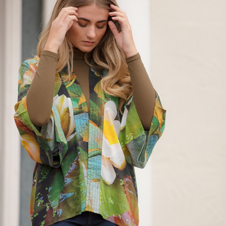 Waterlily Print Viscose Kimono Top by From My Mother's Garden