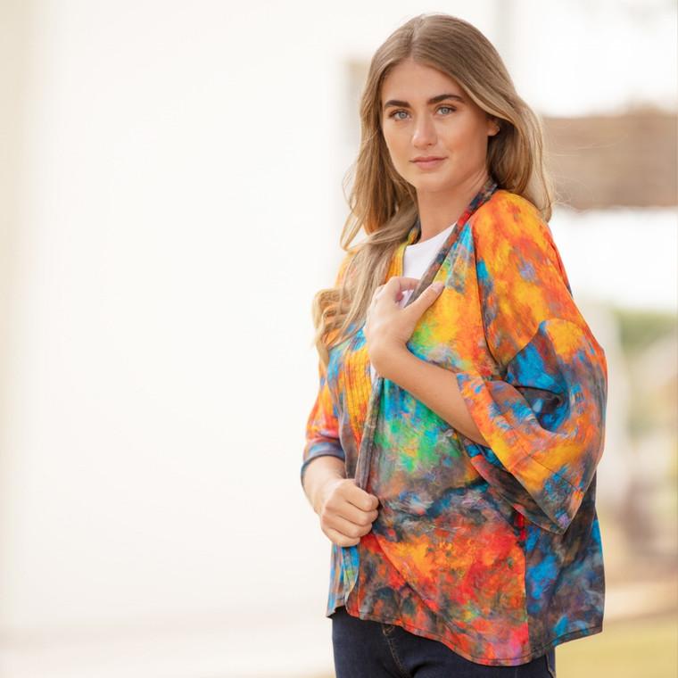 Reflection Print Viscose Kimono Top Orange-Blue