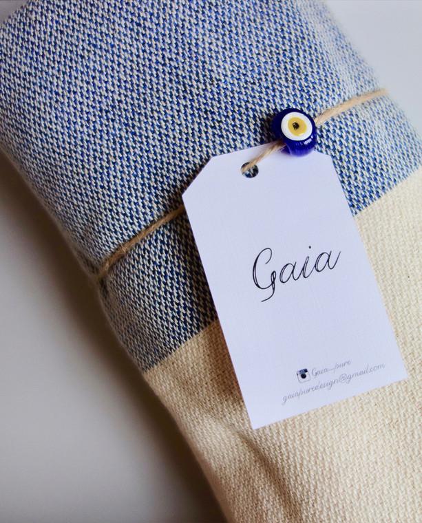 Gaia Peshtemal Throw Navy-beige