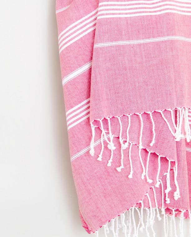 Gaia Pure cotton peshtemal towel pink with white stripes