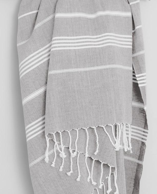 Gaia Pure Peshtemal Towel Grey with White Stripes