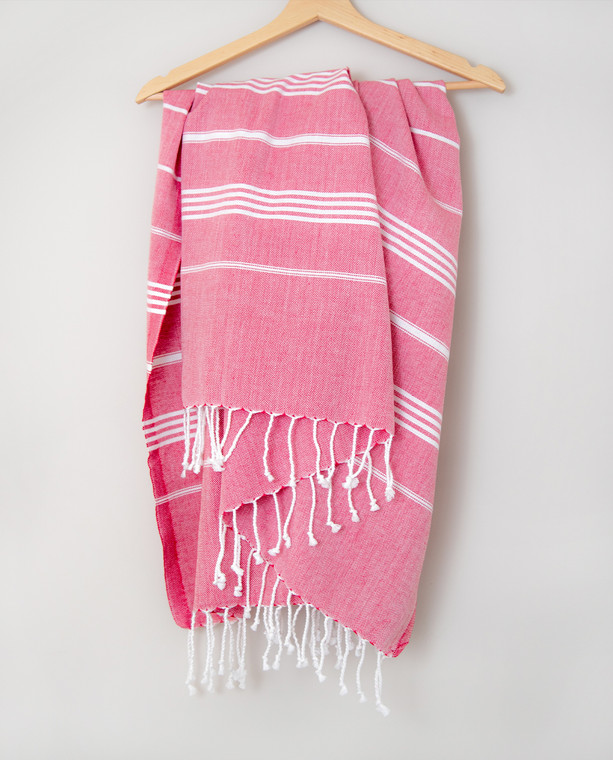 Classic cotton peshtemal towel in pinky red with white stripes