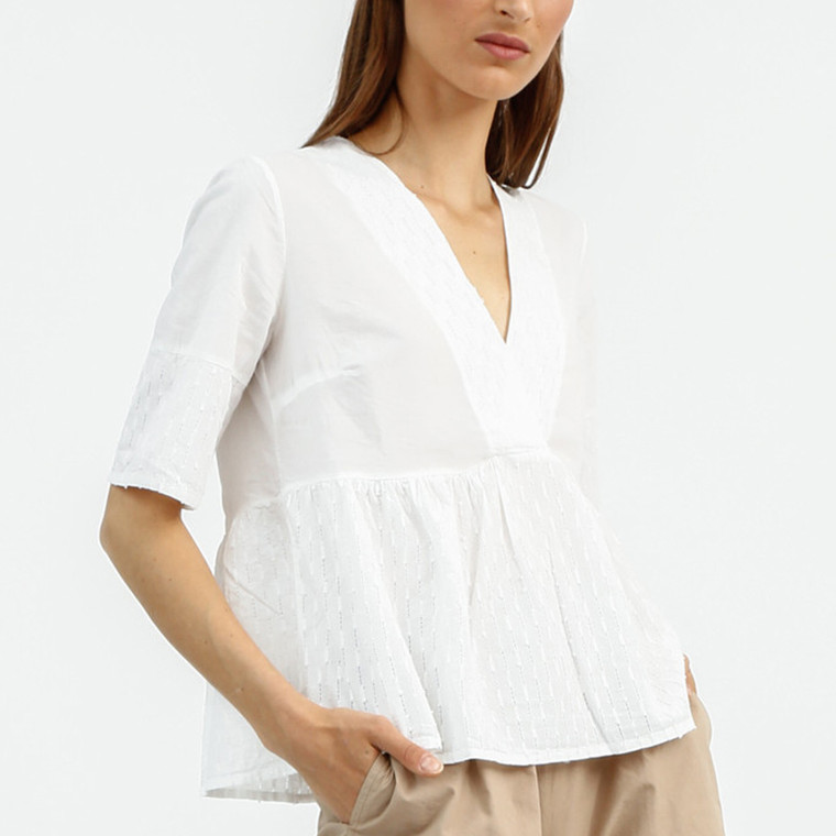 Latte Top by Lagom, loose cotton tunic top in white