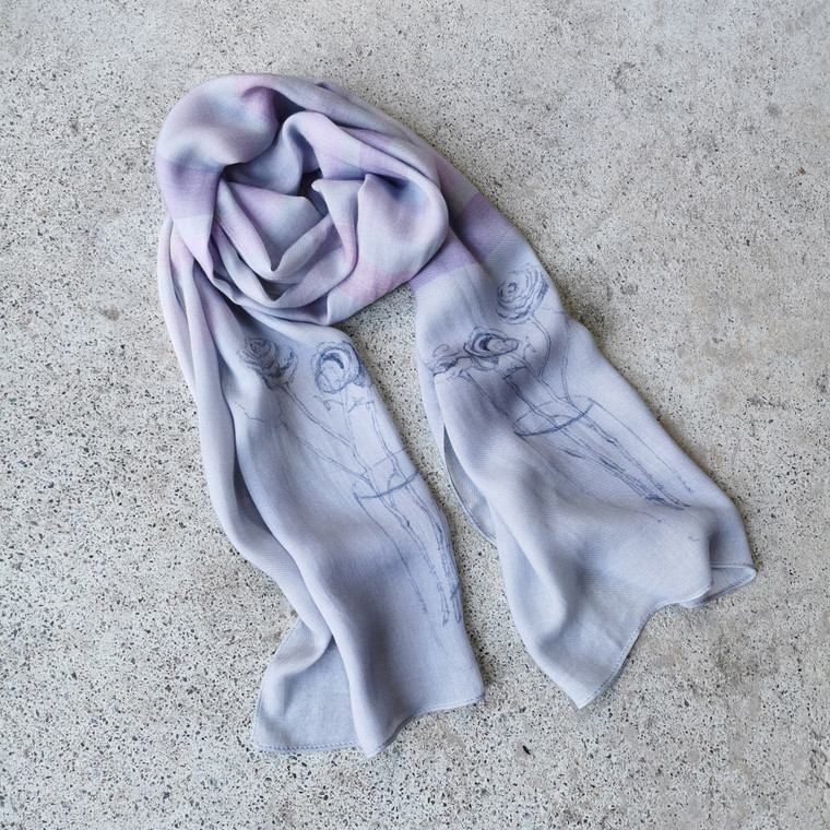 Thistle Rose Grey-Pastels Striped Scarf