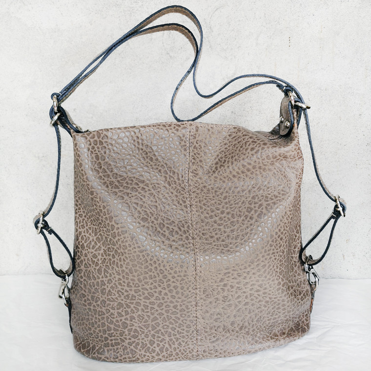 Melanie Transformer Bag - Backpack and Handbag - in Stone Grey Sustainable Leather