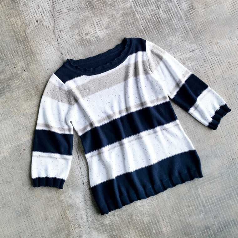 Adelaide Cotton Knit Jumper with Navy, Cream, White Stripes and Tiny Sequins