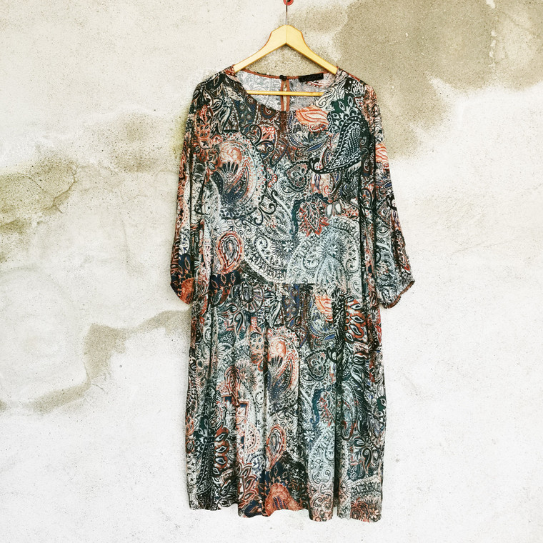 Melbourne Oversized Print Dress Brown-Multi