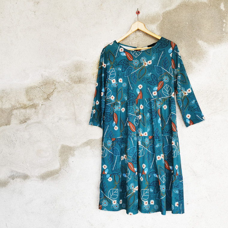 Sydney Tiered Jersey Tunic Dress in Teal Coloured Leaf Print
