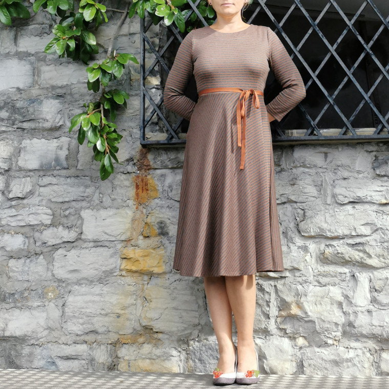 Holborn Striped Viscose-Cotton Jersey Dress in Caramel-Grey with Ribbon Belt on Model