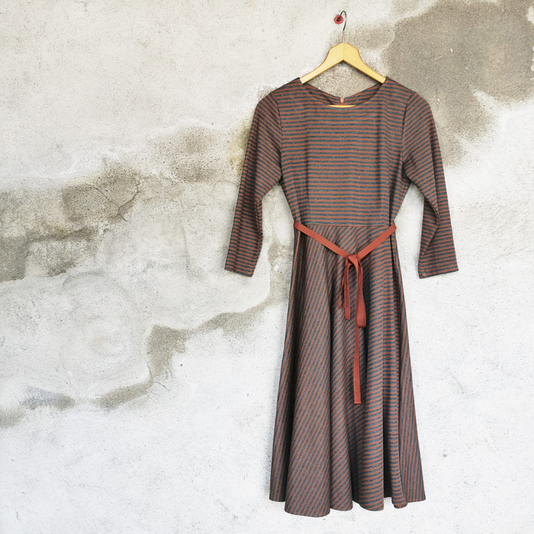 Holborn Striped Viscose-Cotton Jersey Dress in Caramel-Grey with Ribbon Belt