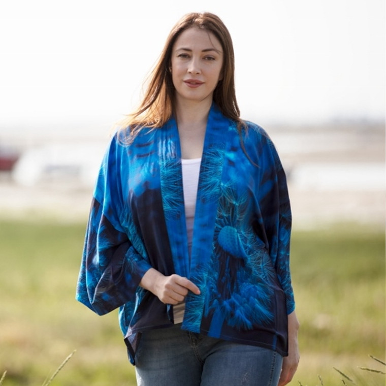 From My Mother's Garden Viscose Kimono Top with Blue Dandelion Wishes Print