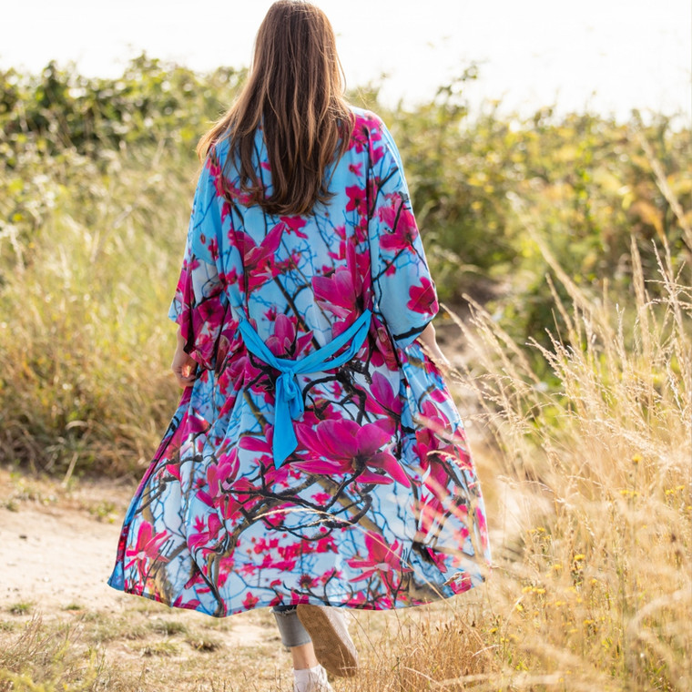 From My Mother's Garden Long Viscose Robe in Magnolia Print