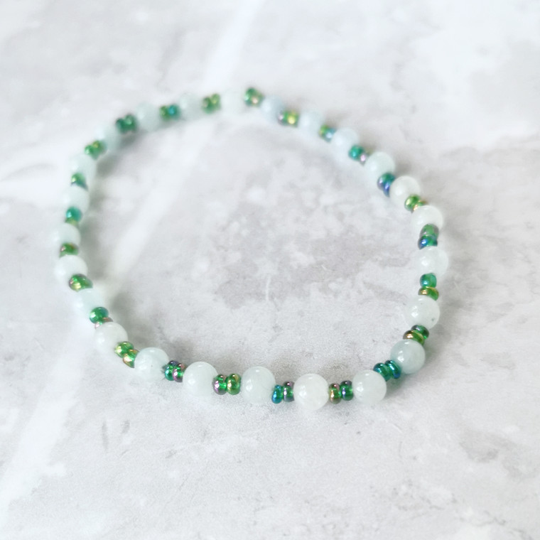 Ocean Dainty Bead Bracelet with Moonstone and Teal Blue Seed Beads