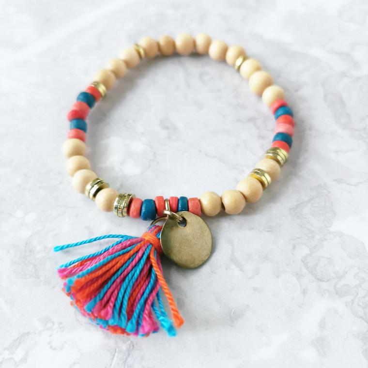 Wood And Tassel Boho Beaded Bracelet