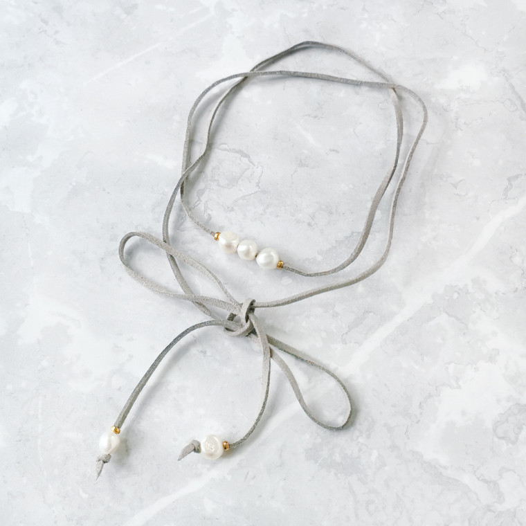 Long Suede Wrap With Freshwater Pearls Grey