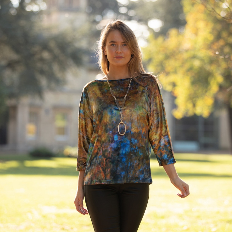 Reflection Print Velvet Top Gold-Blue by From My Mother's Garden for LAGOM