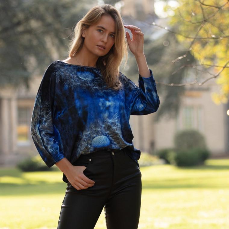 Dandelion Wishes Print Velvet Top Blue