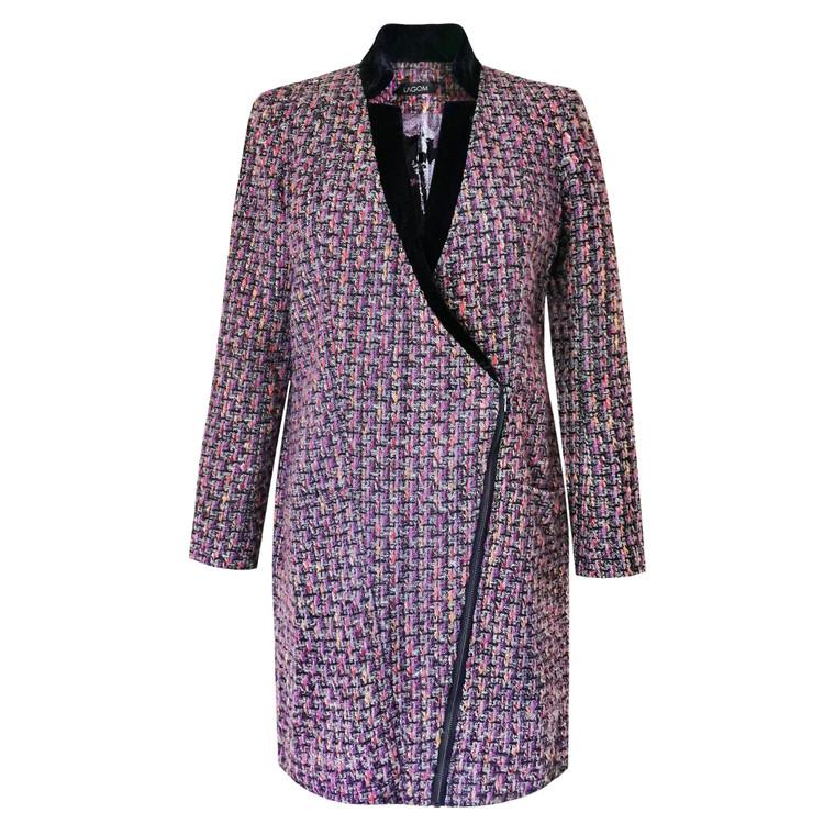 Florence Wool Coat Purple with Black Velvet Collar