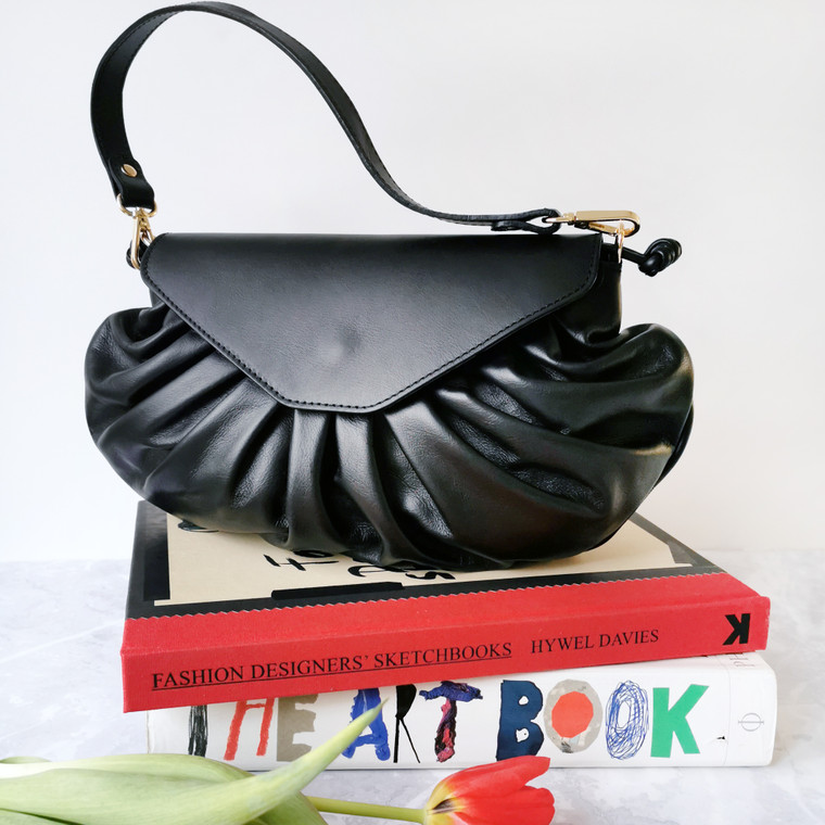 Candy Black Leather Handbag